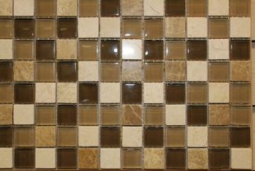 "Glass & Marble Mosaic Tiles (1"" X 1"") NO182"