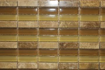 "Glass & Marble Mosaic Tiles (1/2"" X 2"") GM-C-012"