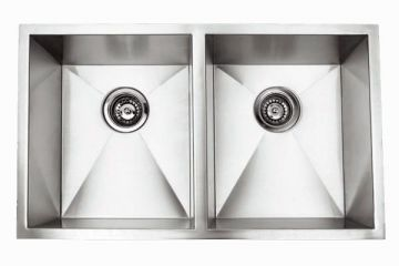 """Undermount 29"""" Double Bowl Rectangle Stainless Steel Sink - JADE-RR2918"""