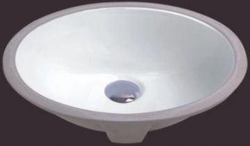 "White 17"" Oval Porcelain Ceramic Undermount Bathroom Sink - JADE2426"