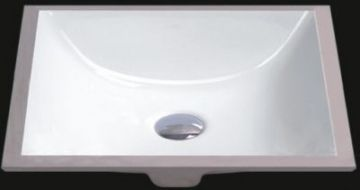 "White 21"" Oval Rectangular Ceramic Undermount Sink - JADE2412"