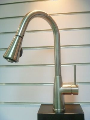 Single Handle Brushed Nickel Kitchen Faucet with Pullout Hose - JADE5122BN
