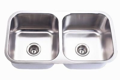 """Undermount 32-1/2"""" Double Bowl Stainless Steel Sink - JADE-502A"""
