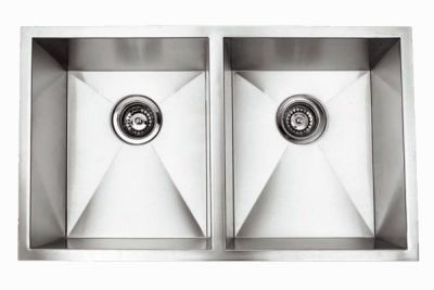 "Undermount 32"" Double Bowl Rectangle Stainless Steel Sink - JADE-RA3219A"