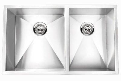 "Undermount 32"" Double Bowl Rectangle Stainless Steel Sink - JADE-RA3219BL"