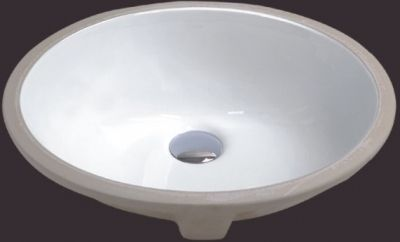 "White 18"" Oval Porcelain Ceramic Undermount Sink - JADE2402"